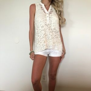 Gianni Bini XS White Laced Tank
